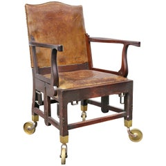 British Military Mahogany and Brass Campaign Chair