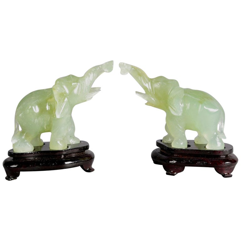 "Pair of Chinese Carved Jade ""Good Luck"" Elephant Sculptures, 20th Century For Sale"