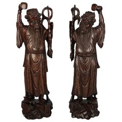 Antique Japanese Hand-Carved Hardwood Figures with Cloud Band Metalwork