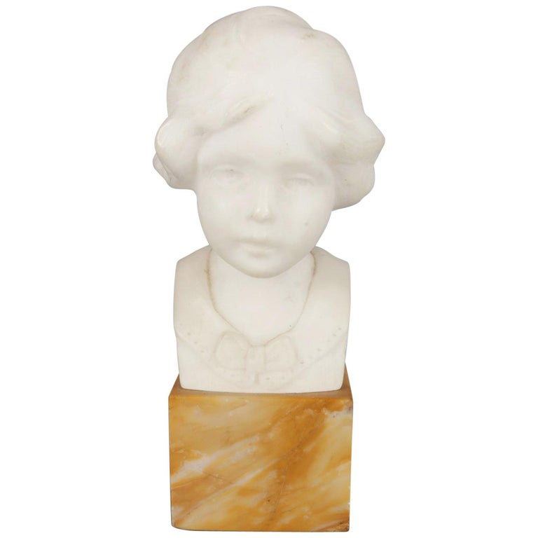 Hand-Carved Alabaster Portrait Bust Sculpture of Girl, Signed Greiwer