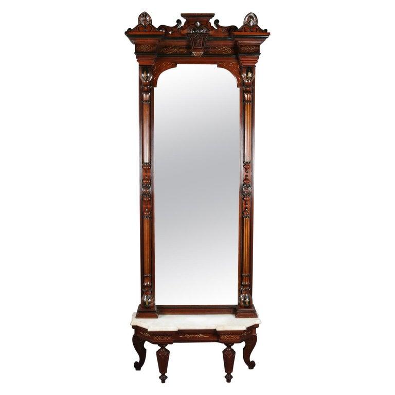 Antique Renaissance Revival Ebonized and Gilt Walnut and Marble Pier Mirror