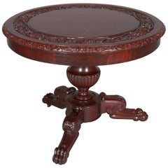 American Empire Style Carved Flame Mahogany Grape and Leaf Center Table