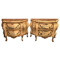 Pair of Venetian Italian Painted Marble Top Antique Bombe Commodes or Nightstand