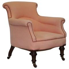 Original Druce & Co Ltd Baker Street Victorian Mahogany Small Tub Armchair Pink