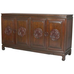 Vintage Chinese Carved Hardwood Four-Door Sideboard, 20th Century