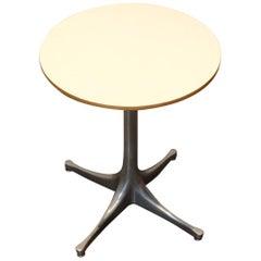 George Nelson for Herman Miller Pedestal Side Table, White Top Aluminum Legs