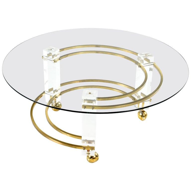 Charles Hollis Jones Style Lucite Brass Coffee Table, Hollywood Regency