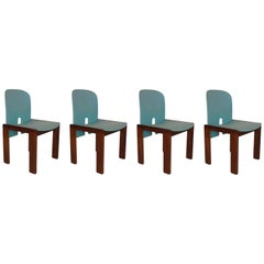 "Tobia Scarpa for Cassina Light Blue Fabric and Walnut ""121"" Chairs, Set of Four"