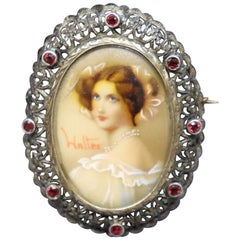 Art Nouveau Brooch in Gold and Silver with Rubies and Central Miniature Painting