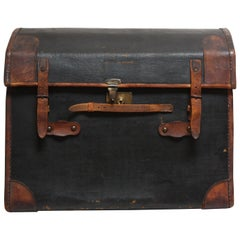 Vintage Folk Art Dome Top Leather and Canvas Steamer Trunk Initialed 'H.K.'
