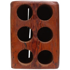 Primitive Solid Red Cedarwood Six-Bottle Wine Holder