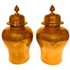 Pair of Brass-Clad Hardwood Temple Jars