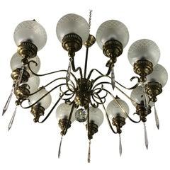 Arredoluce Chandelier Brass Crystal Twelve Lights, 1950