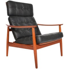 Arne Vodder Model 164 Leather and Teak High Back Reclining Lounge Chair