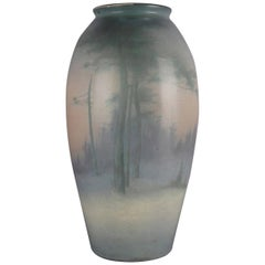 Antique Oversized Hand-Painted Rookwood Art Pottery Velum Vase, circa 1916