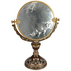 Antique Chinese Cloisonné Vanity Mirror with Etched Glass, 19th Century