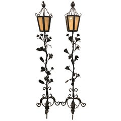 Pair of Black Iron Painted Art Glass Lidded Torchieres or Lanterns