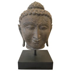 Late 19th Century Granite Buddha Head, Southeast Asia