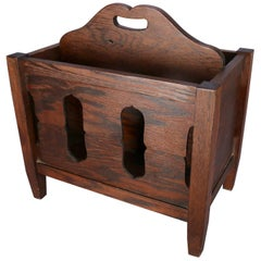Arts & Crafts Stickley School Mission Oak Divided & Cutout Magazine Rack