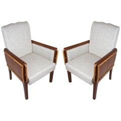 Pair of Teak and Satinwood Mid-Century Modern Armchairs