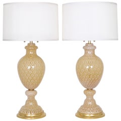 Seguso for Marbro Lamp Co. Hollywood Regency Murano Glass Honeycomb Lamps
