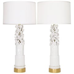 Marbro Lamp Co. Hollywood Regency White Ceramic Lamps with Sculptural Flowers