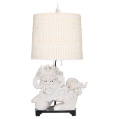 Hollywood Regency Nardini Studios Foo Dog Table Lamp with Maria Kipp Shade