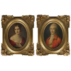 Pair of French Portrait Plaques with Lithographs of Baron & Baroness