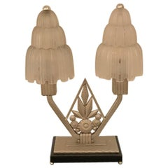 "French Art Deco ""Waterfall"" Table Lamp Signed by Sabino"