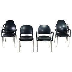 Black Torsion Chairs by Giancarlo Piretti for Ki Set of Eight