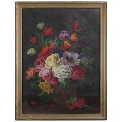 Antique Oil on Canvas Floral Still Life Painting, Signed R. Sloitzaer circa 1890