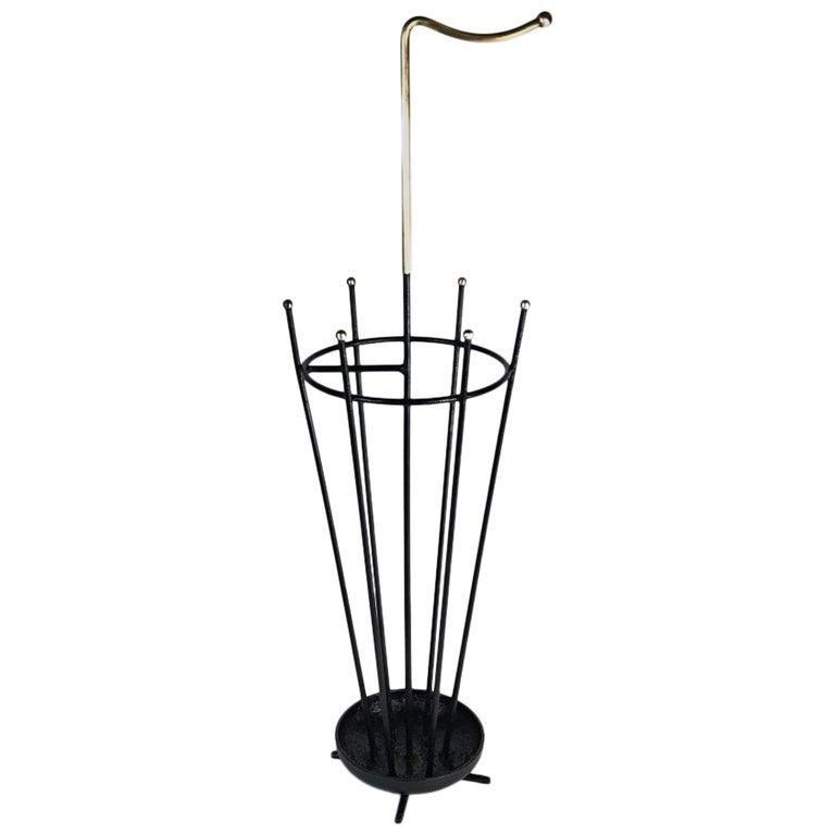Midcentury Mathieu Mategot Style Iron Brass Umbrella Stand, France, 1950s