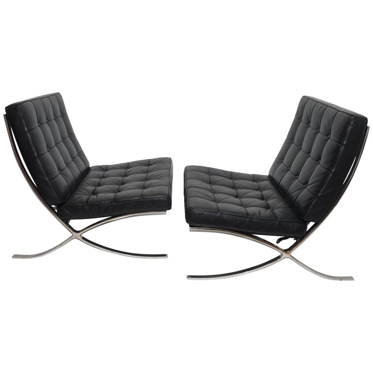 Pair of Knoll Barcelona Style Black Leather Chairs, Mies van der Rohe For Sale