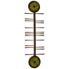 """""""Tribal"""" Wall Sculpture by American Artists Del and Brenda Williams 'Chartreuse'"""
