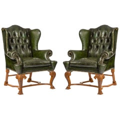 Edwardian Walnut Wing Armchairs in the George I Style