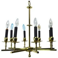 Eight-Light Brass Spoke Chandelier