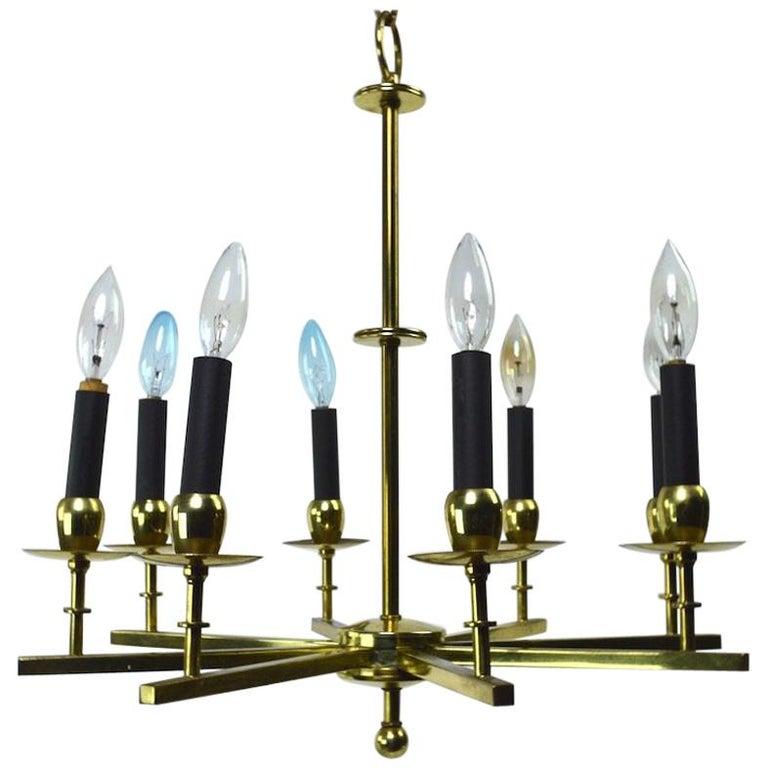 Eight-Light Brass Spoke Chandelier For Sale