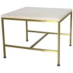 Paul McCobb for Directional Brass Frame and Travertine Top Side Table