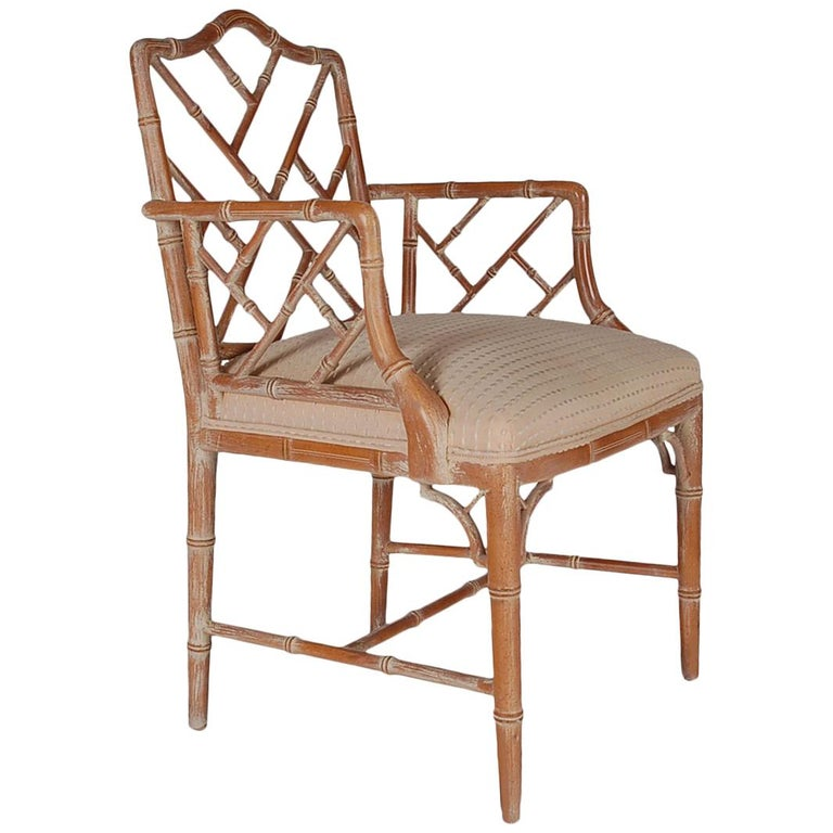 Hollywood Regency Faux Bamboo White Washed Chinese Chippendale Armchair For Sale