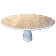Circular Travertine Dining Table in the Style of Angelo Mangiarotti