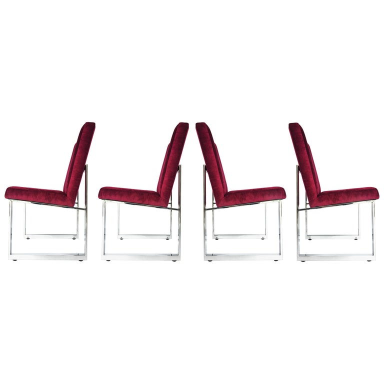 Stunning Set of Milo Baughman for Thayer Coggin Dining Chairs on Wheels