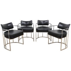 Set of Four Midcentury Milo Baughman Dining Chairs in Black
