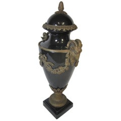French Ceramic and Ormolu Lidded Urn