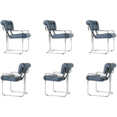 Blue-Grey Leather Tucroma Chair by Guido Faleschini for i4 Mariani, Set of Six