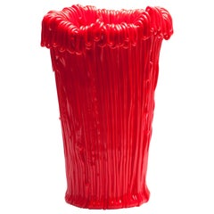 Established & Sons Frillo Vase with HandCrafted Red Piping by Alessandro Ciffo