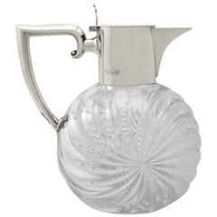 Victorian Cut Glass and Sterling Silver Mounted Claret Jug