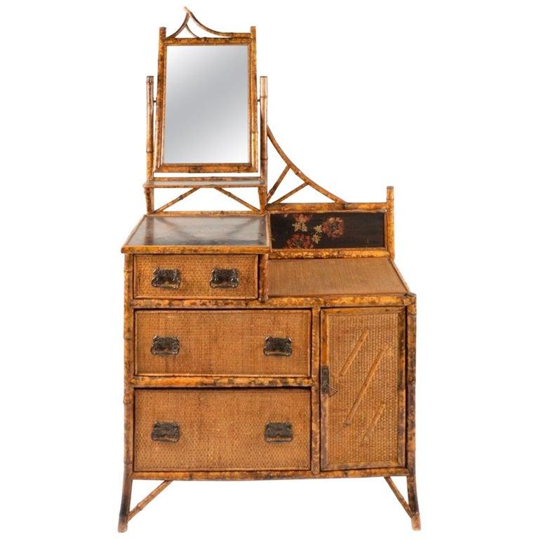 English Brighton Bamboo Woven Rattan Mirrored Vanity Dresser- 19th century
