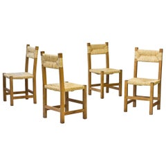 Minimalist French Rustic Chairs in Straw & Beech, 1960s, Set of Four