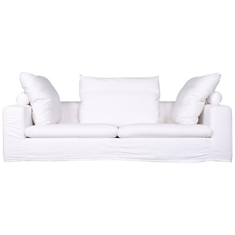 Flexform Poggiolungo Designer Fabric Sofa White Three-Seat Couch