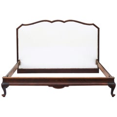 Antique French Bed US Queen UK King Size Mahogany Upholstered, circa 1920